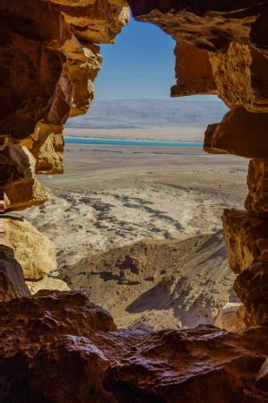 Touring Israel Luxury Day Tours: View of Dead Sea from top of Masada