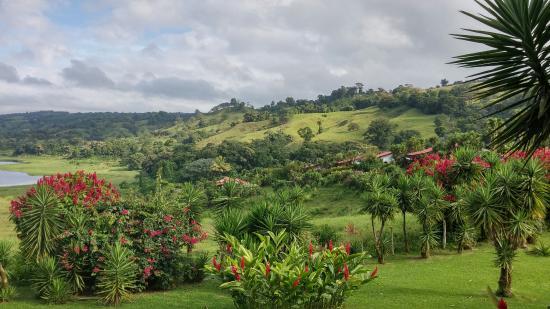 La Mansion Inn Arenal Hotel: Vue magnifique sur le jardin et le lac Arenal
