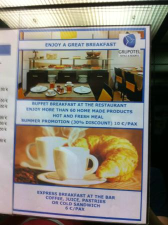 Grupotel Gravina: Oferta desayuno