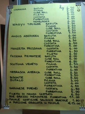 Mira, Itália: Menù carni