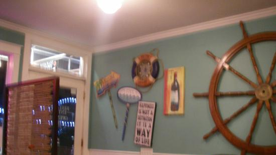 Castaways Seafood Grille: One of the walls in the restaurant. The view from our table.
