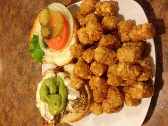 Grangeville, ID: Guac Chicken Burger with Tater Tots