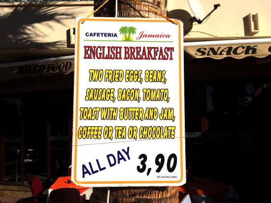 Cafeteria Jamaica: English breakfast pricing