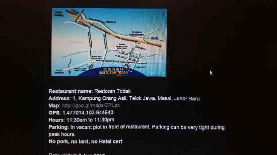 Restoran Todak (Orang Asli): Location Map