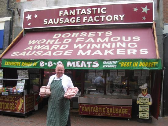 Weymouth, UK: outside of the sausage factory
