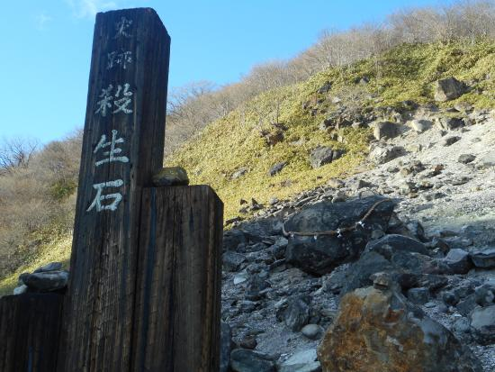 Sesshoseki-Tenbodai Boardwalk: しめ縄がかかっているのが殺生石