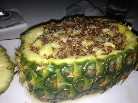 Elements Restaurant : The flaming pineapple stuffed with quinoa and veggies!