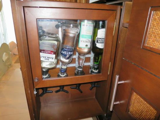 liquor cabinet - beer, soda, water in fridge - Picture of Hard ...