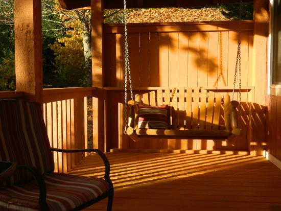 Fishing creel cabin deck picture of carson ridge luxury cabins