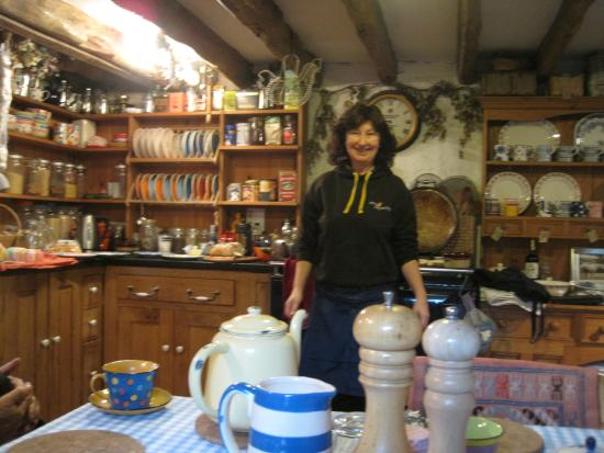 The Old Mill Soar: Our host, Sara in her beautiful Welsh farmhouse kitchen