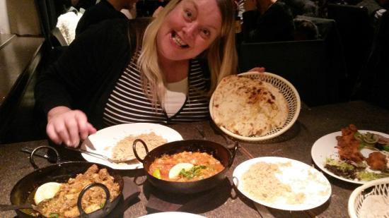 Akbar's: My barmpot girlfriend posing with the dinner!