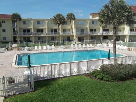 Spanish Trace: View of pool from balcony