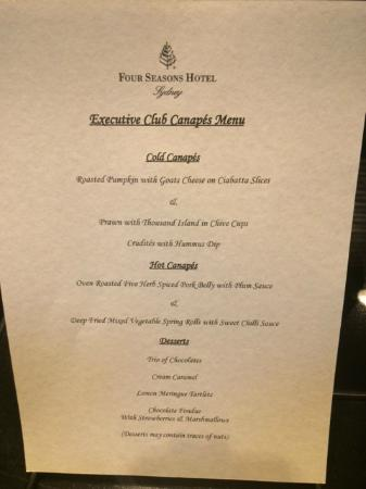 Executive club canapes menu picture of four seasons for Canape menu prices
