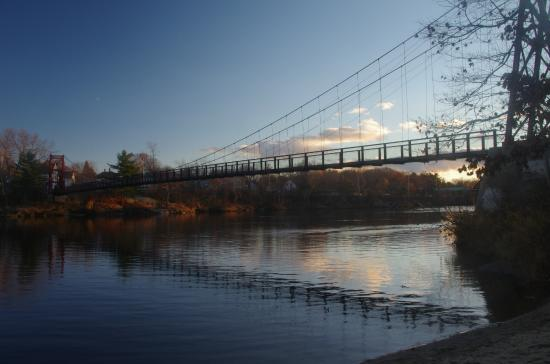 Androscoggin Swinging Bridge: View of the bridge at sunset