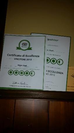 Mister Steak: Certificaoo TripAdvisor 2012 / 2013