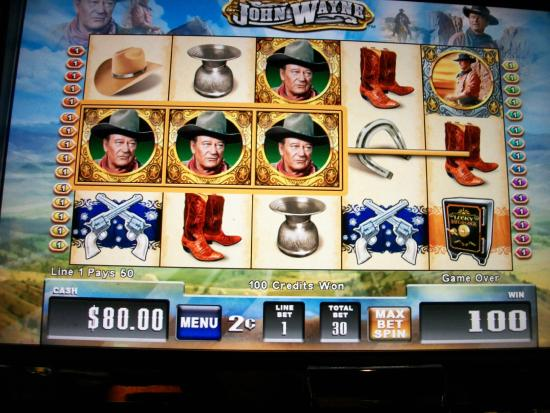 Casino at Harrah's Cherokee: I played on $5.00 and won $80.00 on a John Wayne Slot Machine.