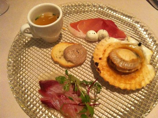 Xex West: Appetizer with Scallop, Sashimi and Ham & Cheese