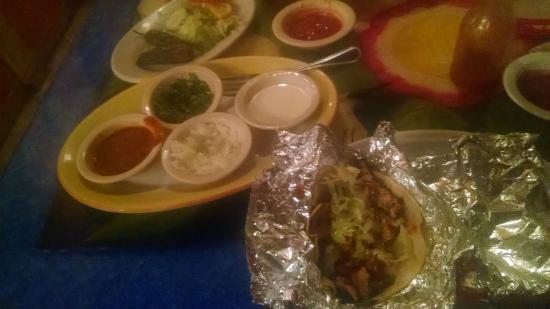 El Vallarta Mexican Restaurant: taco platter-1 carnitas, 1 chicken, 1 steak, 1 chorizo