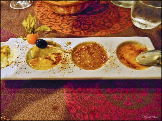 Le Chambellan: Four tast types of creme brulee!  Delicious