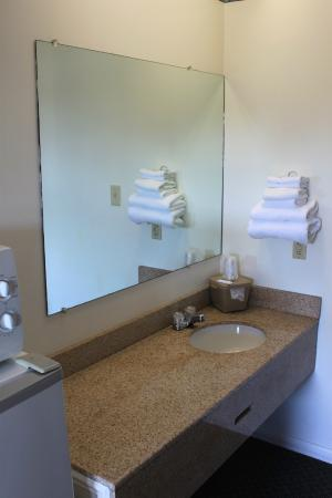 Burgaw Motel: Clean and functional basin with large mirror, fresh towels