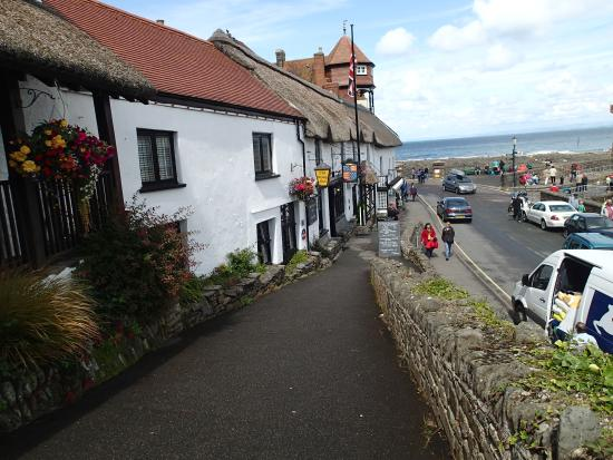 The Rising Sun Hotel: View past pub to sea