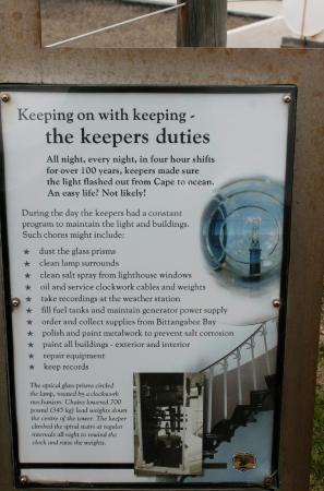 Green Cape Lighthouse : Information about the Keepers Duties