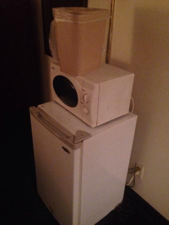 Travel Best Inn : Who puts trash can on top of fridge