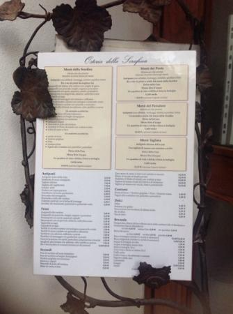 Bertinoro, İtalya: il menu'