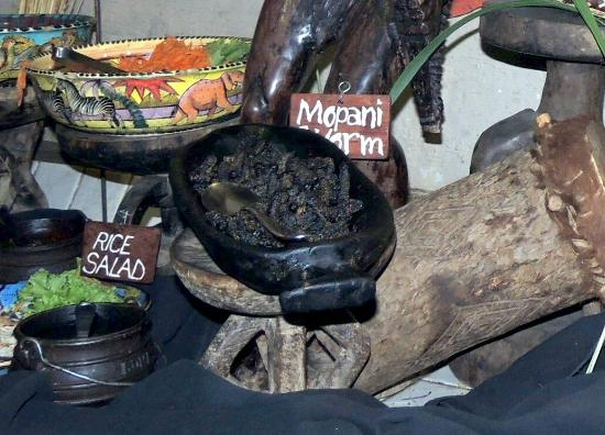The Boma - Dinner & Drum Show: Mopani worm dish at the Boma Restaurant