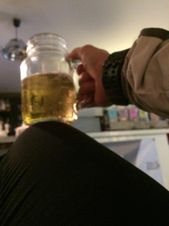 The mess-canteen+Bar: Jam jar pints!!