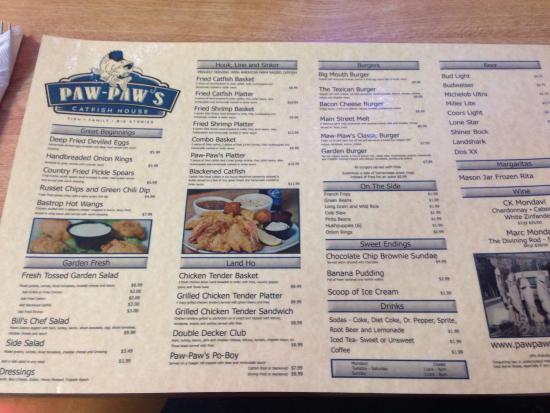 Paw Paw's Catfish House: Menu