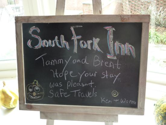 South Fork Inn Bed & Breakfast : goodbye note