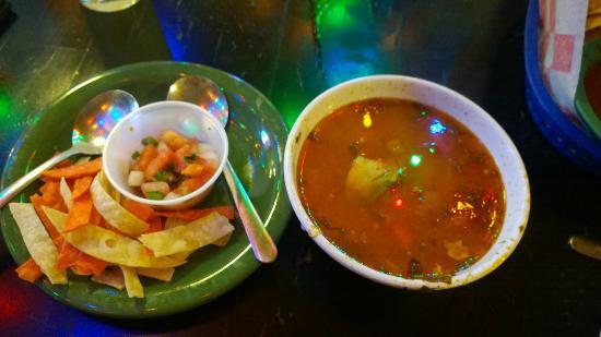 Rita's on the River : Tortilla soup with Tortilla strips and pico de gallo