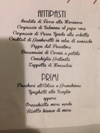 Poggibonsi, Italy: Esempio di una parte di menù fisso per gruppi..tutto speciale!