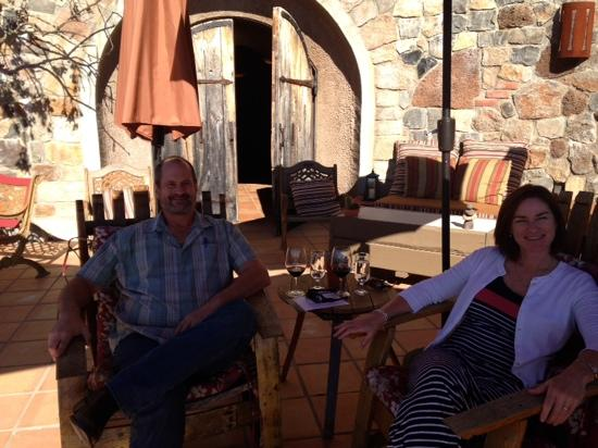 B. Wise Vineyards: Sitting outside cave admiring the view