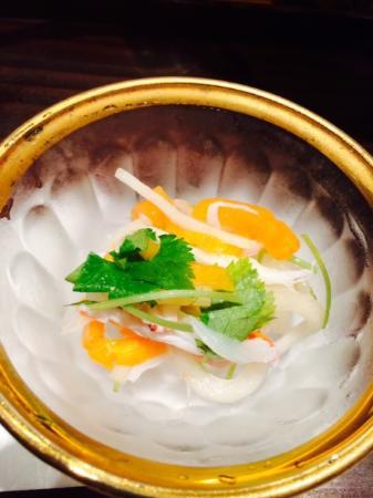 Kanoyama: Omakase app daikon persimmon salad