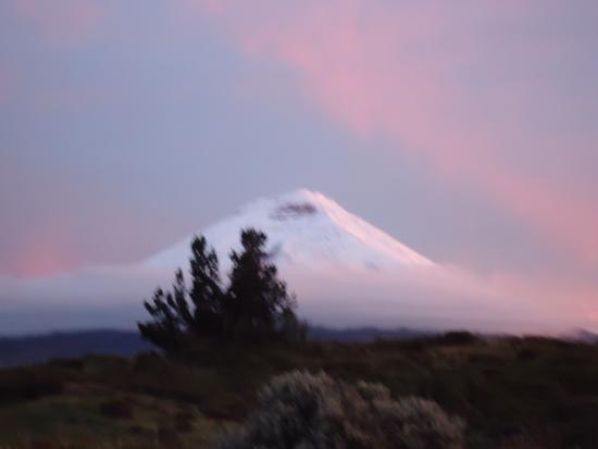 Hacienda Los Mortiños: Cotopaxi at sunset