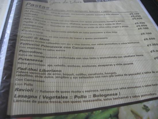 Jauja: menu