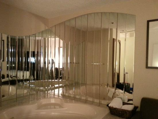 Delta Edmonton Centre Suite Hotel: Jacuzzi surrounded by mirrors.