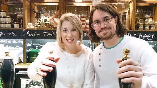 Greene King Brewery: We were allowed behind the bar!