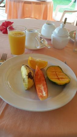 Rosemary's Guesthouse : plateau de fruit et jus pressé frais chaque matin