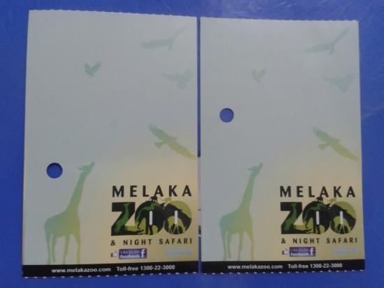 Malacca Zoo: Tiket masuk