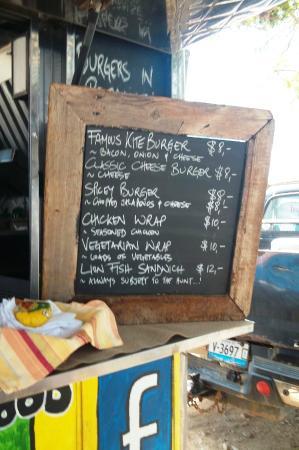 Cactus Blue on the Beach: the menu