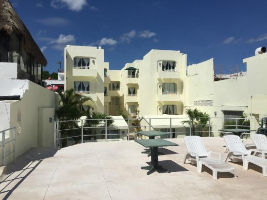Playa Maya : view of hotel exterior from new patio over restaurant