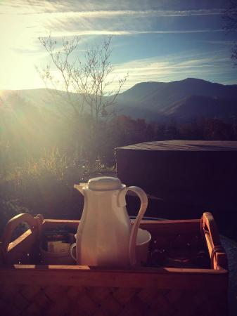 Once Upon a Mountain: Morning tea and the view of the mountains from the patio