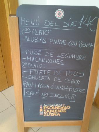Cuevas de Valporquero : abusivo menu del restaurante