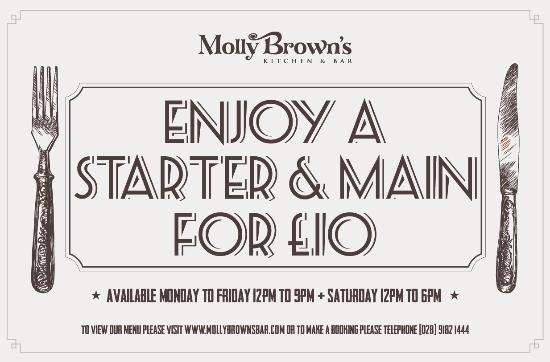 ‪‪Molly Brown's Kitchen & Bar‬: Enjoy 2 courses for £10‬