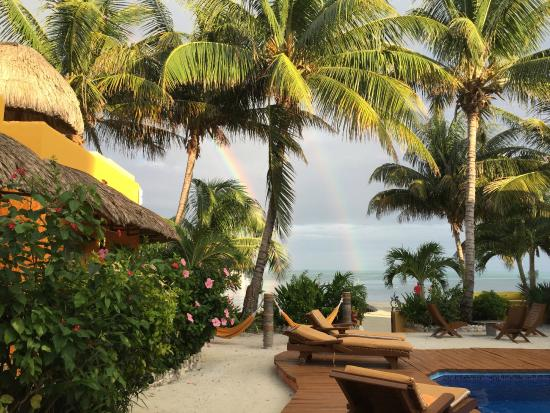 Seaside Cabanas: Double rainbow at beach as seen from pool
