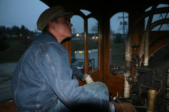 Steam into History: The fireman of No. 17 while pulling back in to New Freedom