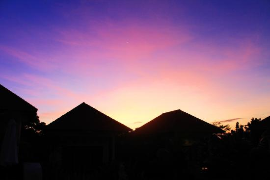 Bali Bule Homestay : the view above the rooms on sunset